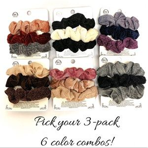 Accessories - Glitter and Velvet 3-Pack Scrunchies